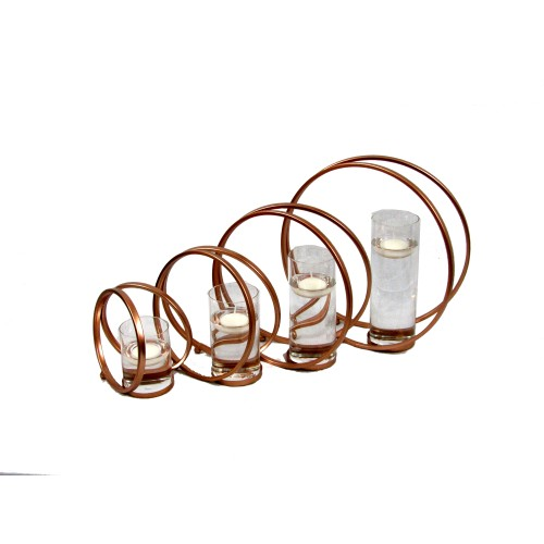 Spura Home Double Round Circle Iron Candle Holder Copper Brown