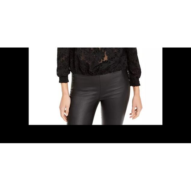 INC International Concepts Women's Cropped Jacquard Top Black Size Medium