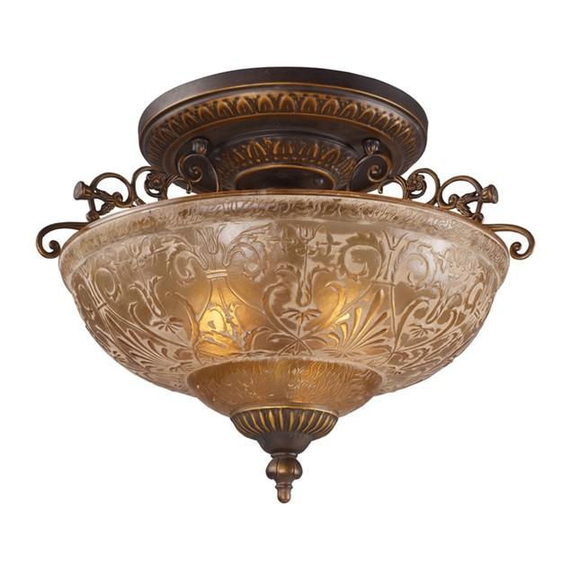 "Restoration Flushes 3 LT Semi Flush In Antique Golden Bronze - 14""H"