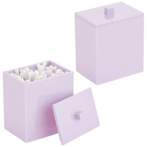 mDesign Storage Apothecary Canister for Bathroom, 2 Pack - Light Purple
