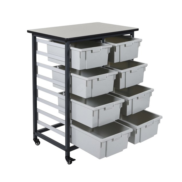 """Luxor 37.5"""" Mobile Bin Storage Unit - Double Row with 8 Large Bins"""