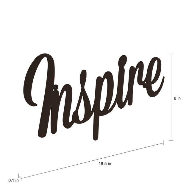 """INSPIRE"" Rustic Metal Cutout- Inspired Sign-3D Wall Art"