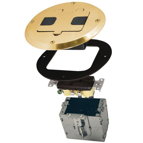 Raco  1-Gang Metal Brass Plated Concealed Receptacle Floor Electrical Box