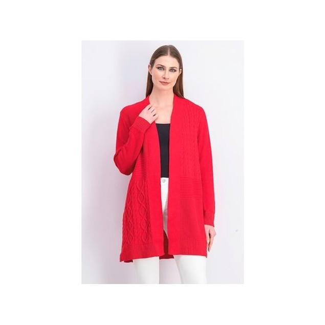 Charter Club Women's Patchwork Cardigan Medium Red Size Petite Medium