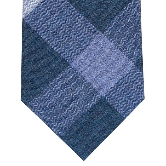 Bar III Men's Shilling Skinny Plaid Tie Blue Size Regular