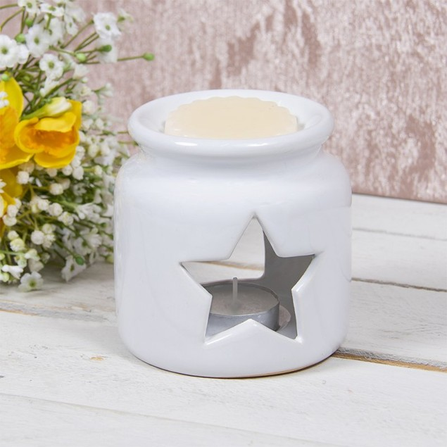 Ceramic White Star Wax Oil Warmer By Lesser and Pavey