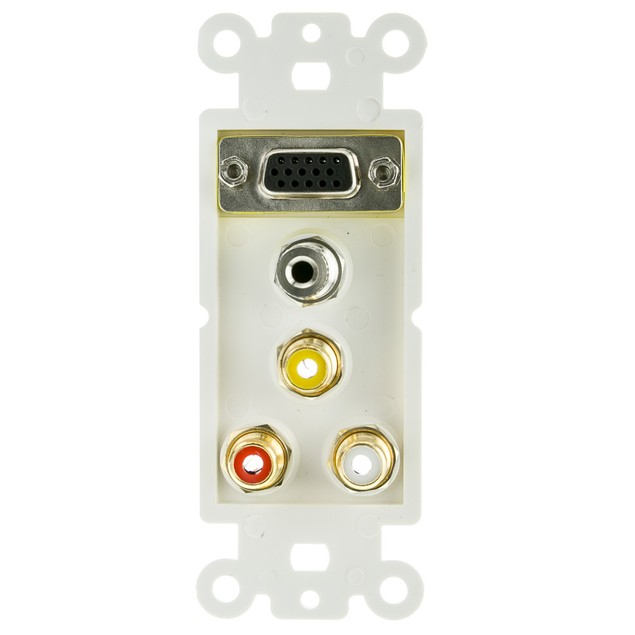 Decora Wall Plate Insert, White, with 1 VGA,  Female Couplers