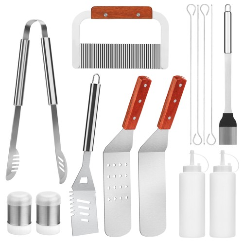 BBQ Grill Tool Set Image 14 Pieces Large Heavy Duty Stainless Steel