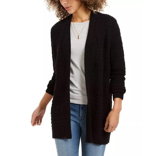 Style & Co Women's Boucle Cardigan Black Size Extra Large