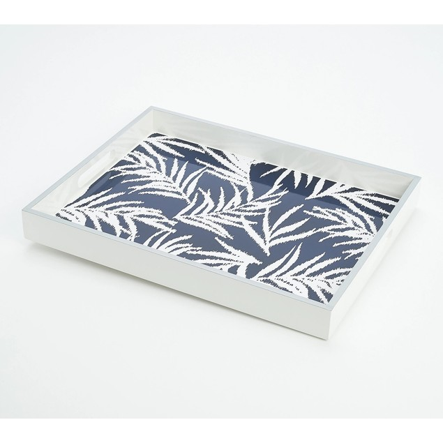 "G.I.L.I. by Jill Martin 11"" x 17"" Lacquered Printed Tray, Large, Navy"