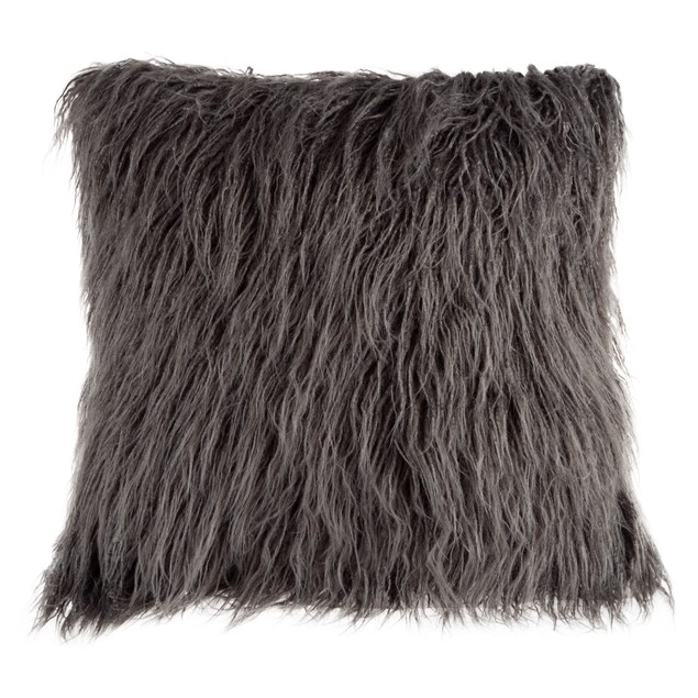 22-Inch Plush Pillow – Luxury Square Floor Pillow Insert and Shag Glam Cover Set– For Bedroom or Living Room by Lavish Home (Gray)