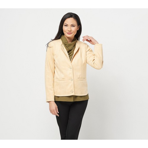 Linea by Louis Dell'Olio Faux Suede Long Sleeves Jacket, Reg 8, Buttercream
