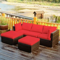 Costway 5PCS Patio Rattan Furniture Set Sectional Conversation Set Ottoman