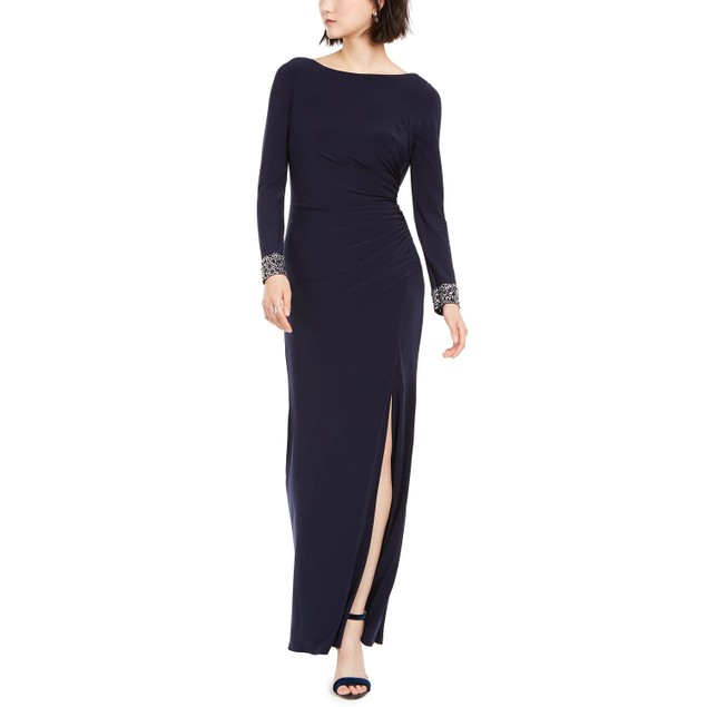 Vince Camuto Women's Embellished Draped Back Gown Navy Size 4