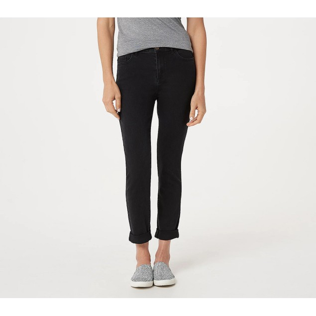 LOGO by Lori Goldstein Zip-Front 5-Pocket Straight Leg Jeans, 10, Black