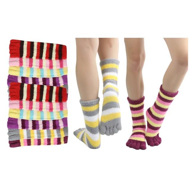 6-Pairs: Cozy Striped Plush Winter Toe Socks