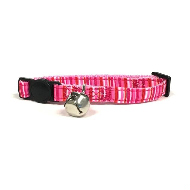 Midlee Pink Stripe Cat Collar with Breakaway Buckle