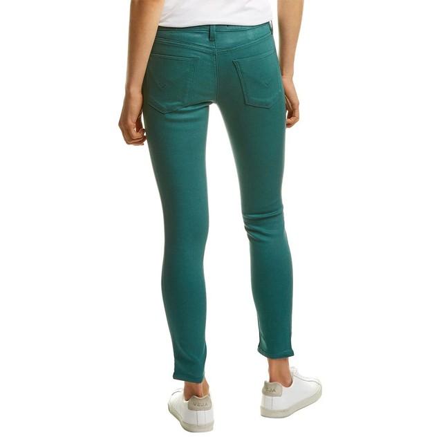 Women's Hudson Nico Waxed Teal Super Skinny Ankle Leg Jeans, 32, Green
