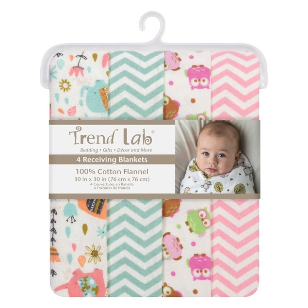 Trend Lab Scandi Cocoa Flannel Baby Blankets- 4 Pack
