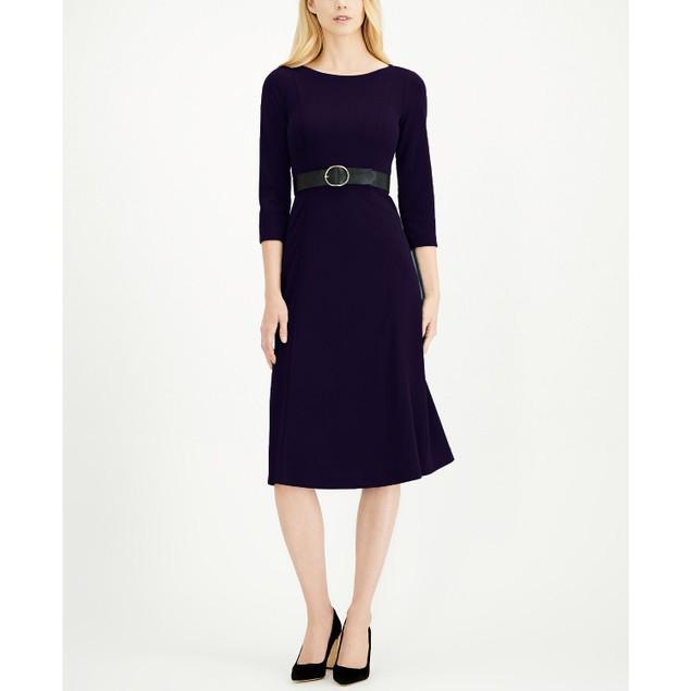 Calvin Klein Women's Belted Midi Dress Blue Size 6