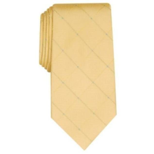Perry Ellis Men's Burr Classic Geo Grid Tie Yellow Size Regular