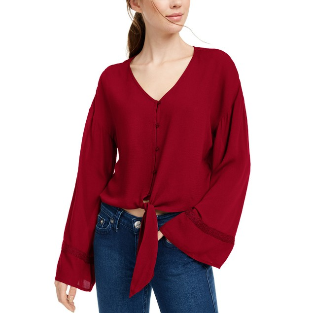 Freshman Juniors' Flare-Sleeved Tie-Waist Blouse Red Size Large