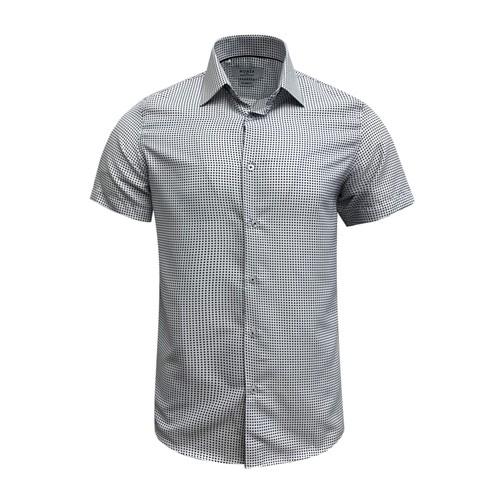 Monza Modern Fit Short Sleeve White Twill Dress Shirt