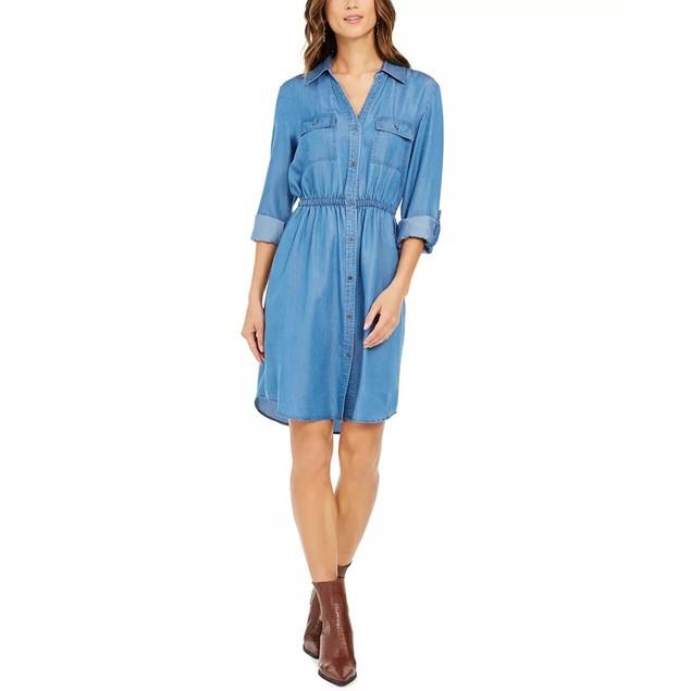 Style & Co Women's Woven Utility Dress Navy Size Medium