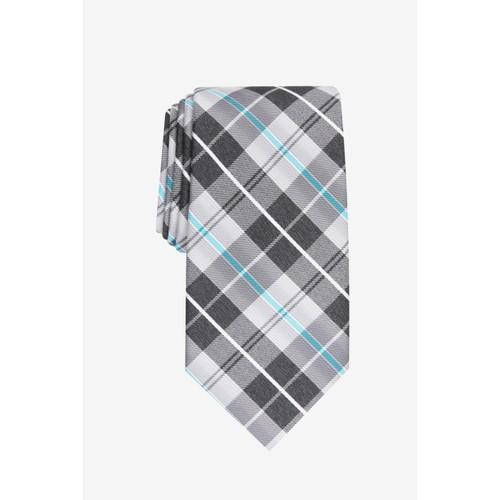 Perry Ellis Men's Dever Classic Plaid Tie Charcoal One Size