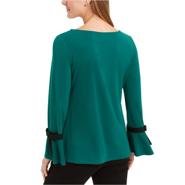 Charter Club Women's Tie-Sleeve Crepe Top Green Size Large