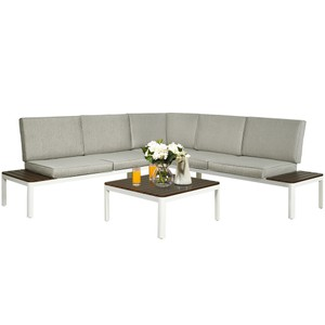 Costway 4PCS Patio Conversation Furniture Set Aluminum Frame Sofa Lounge Ch