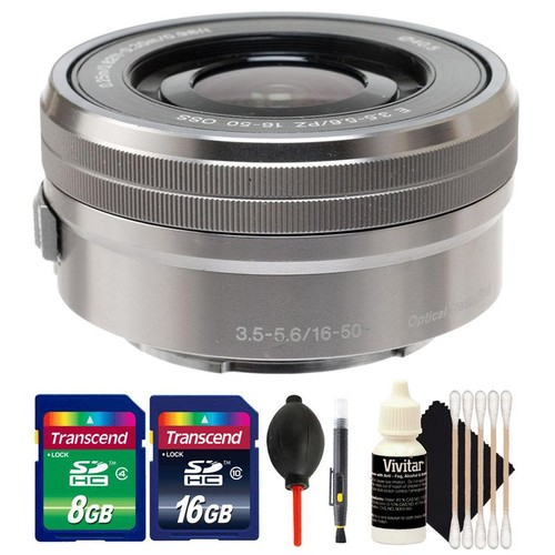 Sony E PZ 16-50mm f/3.5-5.6 OSS Silver Lens + 24GB Memory Card + Lens Cleaner + Dust Blower + 3pc Cleaning Kit