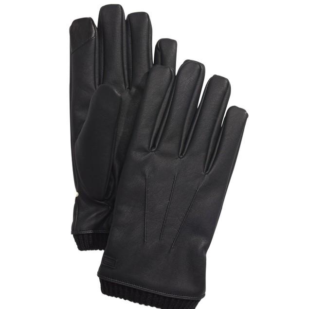 Calvin Klein Men's Faux-Leather Gloves Black Size Large