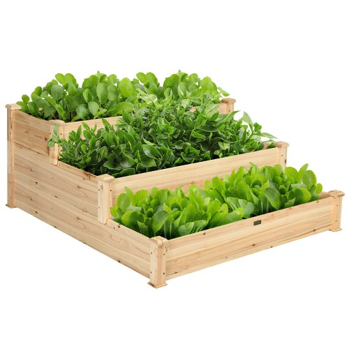 Costway 3 Tier Wooden Raised Vegetable Garden Bed Elevated Planter Kit Outd