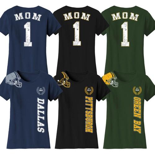 Women's Mom #1 Football Home Team T-Shirts