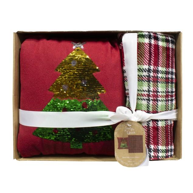 Holiday Pillow and Throw Gift Sets - Christmas Tree
