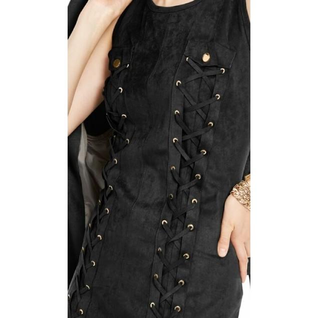 INC International Concepts Wo Lace-Up Faux-Suede Dress Black Medium
