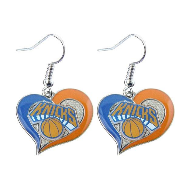 "NBA LA LOS Angeles Lakers 3/4"" Swirl Heart Shape Dangle Logo Earring"