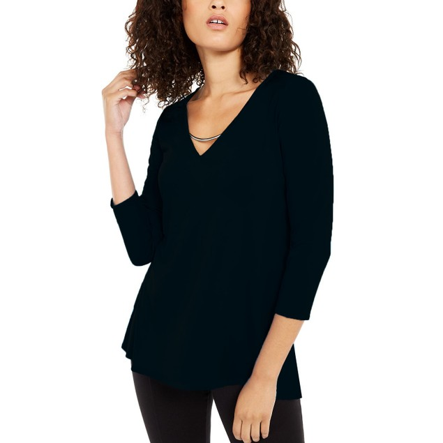 Alfani Women's Pullover Top With Hardware Black Size XX-Large