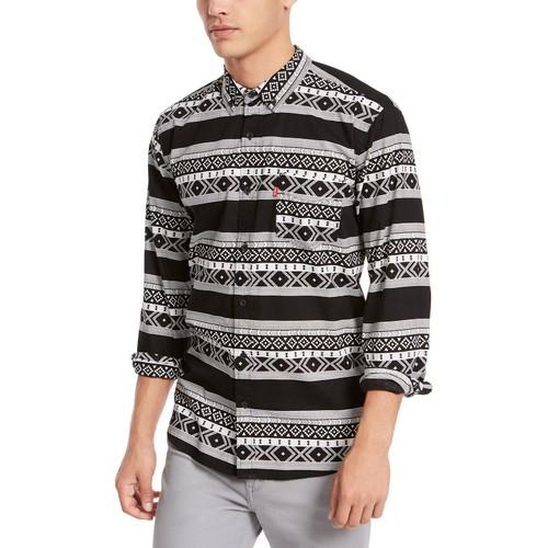 Levi's Men's Norte Regular-Fit Geo-Stripe Shirt Black Size XX-Large
