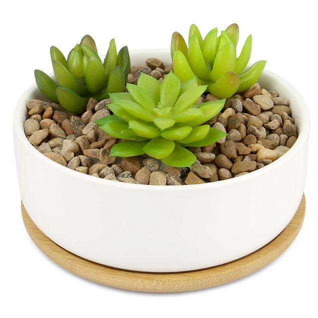 Ceramic Planter and Bamboo Base | MandW Round