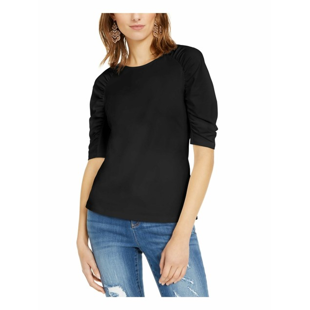 INC International Concepts Women's Puff-Sleeve Top Black Size XX-Large