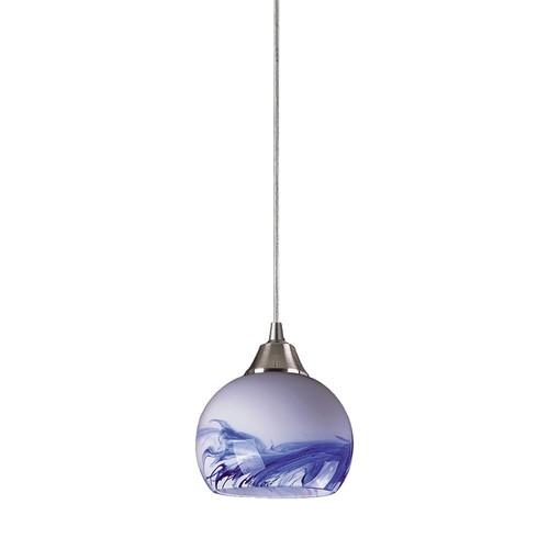 Mela 1 Light Pendant in Satin Nickel And Mountain