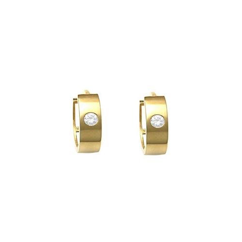 10K Solid Yellow Gold Huggie Earrings W/ Zirconia Bezel Setting in Center