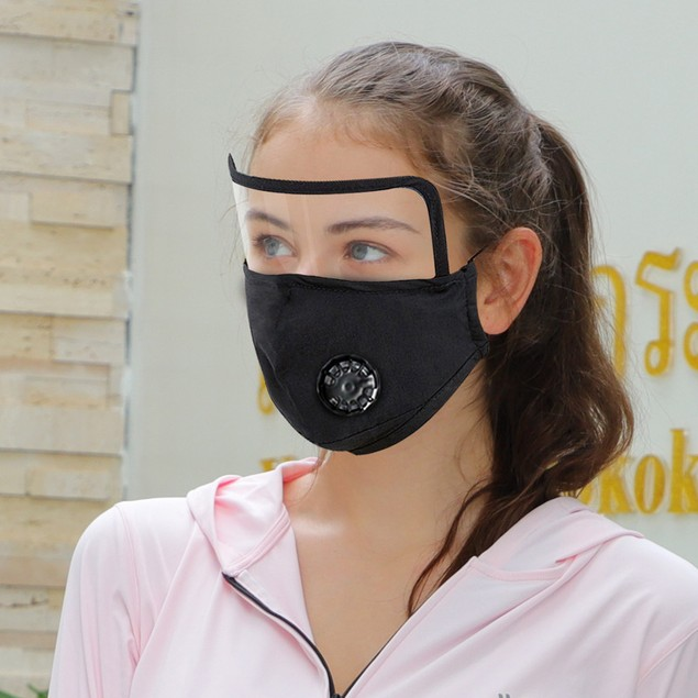 2 Pack Cotton Face Mask Cover with Eye Shield, Breathing Valve, and 4 Filters