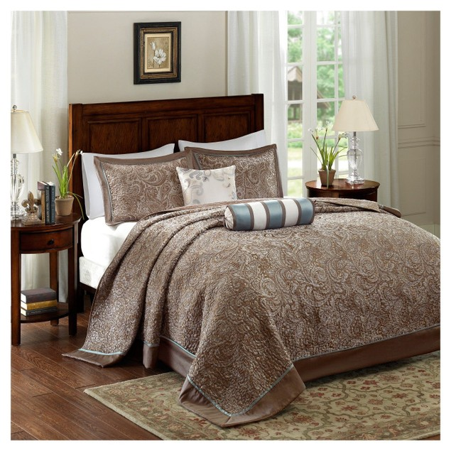"Madison Park Adeline 5-Pc. Queen (102""x118"") Bedspread Set, Brown"
