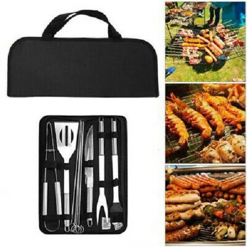 9 Pack BBQ Tool Set Stainless Steel Barbecue Grill Utensils Kit Accessories