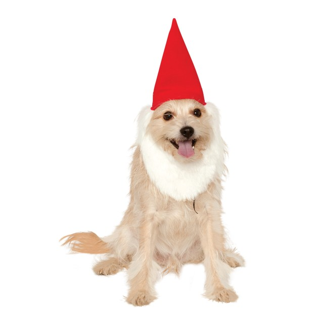 Pet Garden Gnome Hat with Beard Funny Cute Dog Cat Costume Halloween Fancy