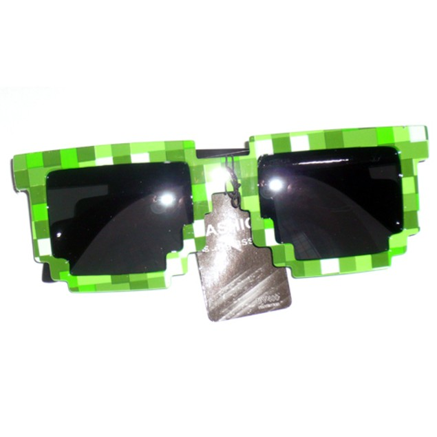 8-Bit Pixelated Green Sunglasses With Dark Arms