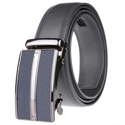 Adjustable Genuine Leather Ratchet Belt with Stripe